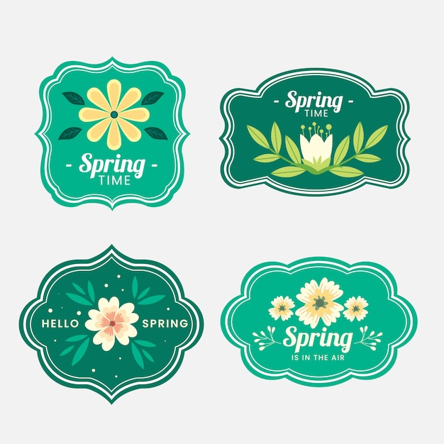 Spring badge collection in flat design Free Vector