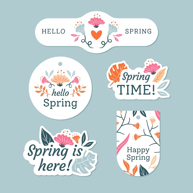 Spring badge collection with colourful leaves and flowers Premium Vector