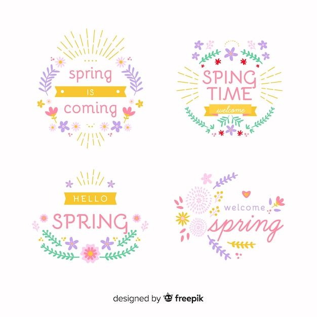 Spring badge collection Free Vector