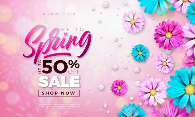 Spring banner. floral design template with typography letter Free Vector