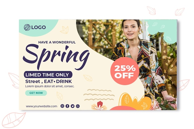 Spring banner template Free Vector