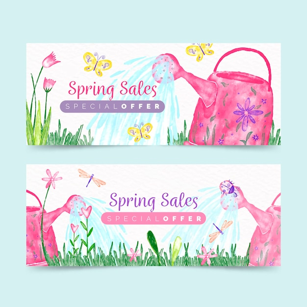 Spring banners with special offer Free Vector