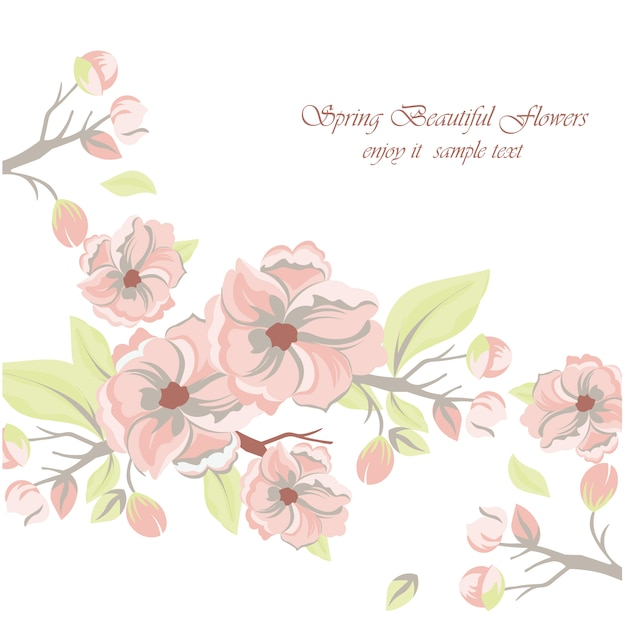 Spring beautiful flowers background Free Vector