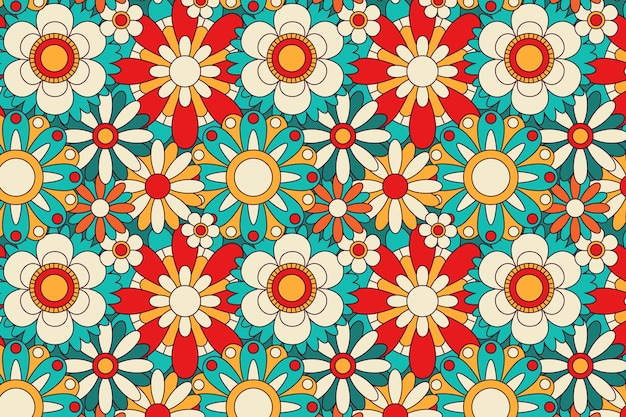 Spring blooming groovy floral pattern Free Vector