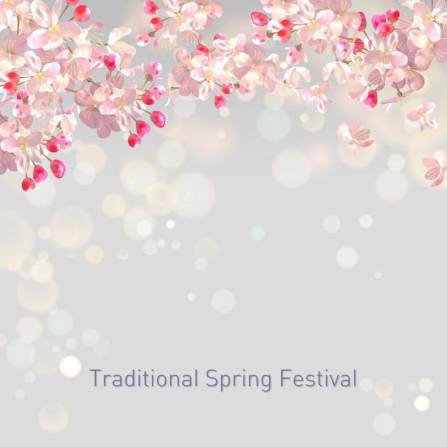 Весенний цветущий фон со сливой или вишней Premium векторы