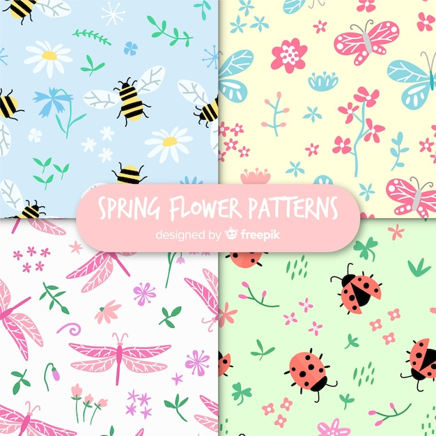 Spring bugs pattern collection Free Vector