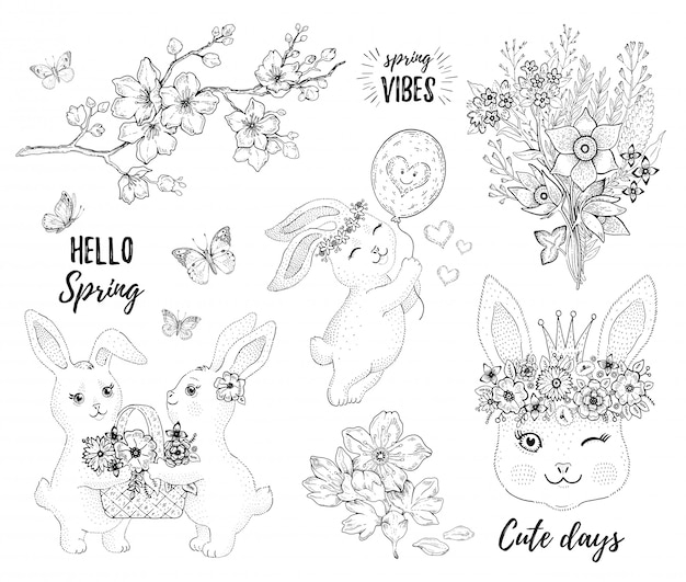 Spring bunny set with cute rabbits, cherry blossom and flowers. Premium Vector