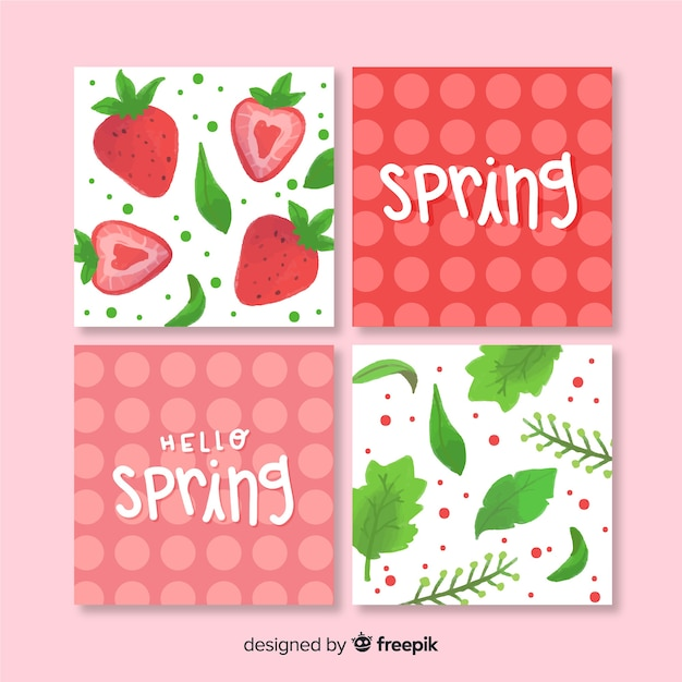 Spring card collection Free Vector