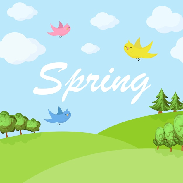 Spring cartoon landscape with trees and clouds Premium Vector