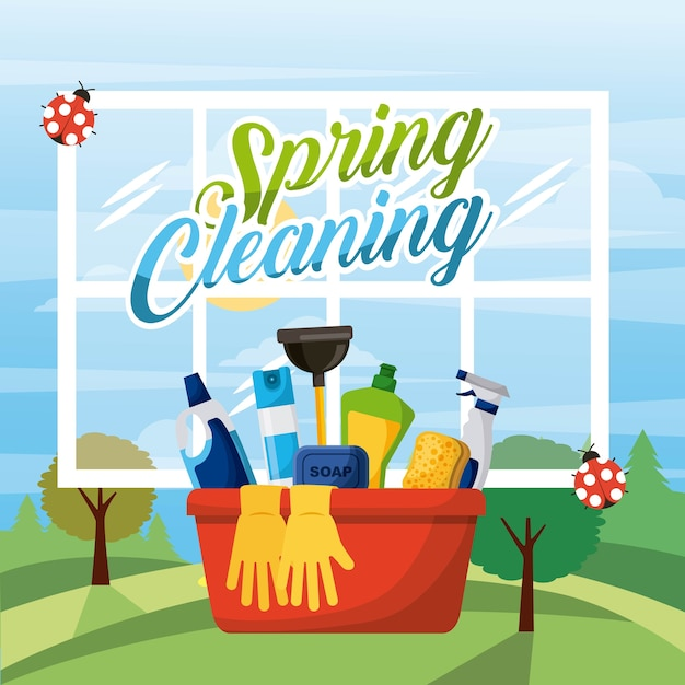 Spring cleaning bucket equipment Premium Vector