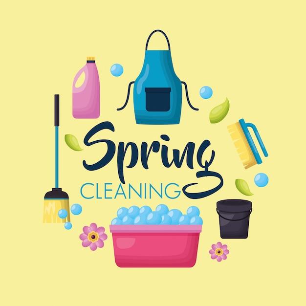 Strumenti per le pulizie di primavera Vettore gratuito