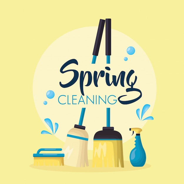 Spring cleaning tools Free Vector