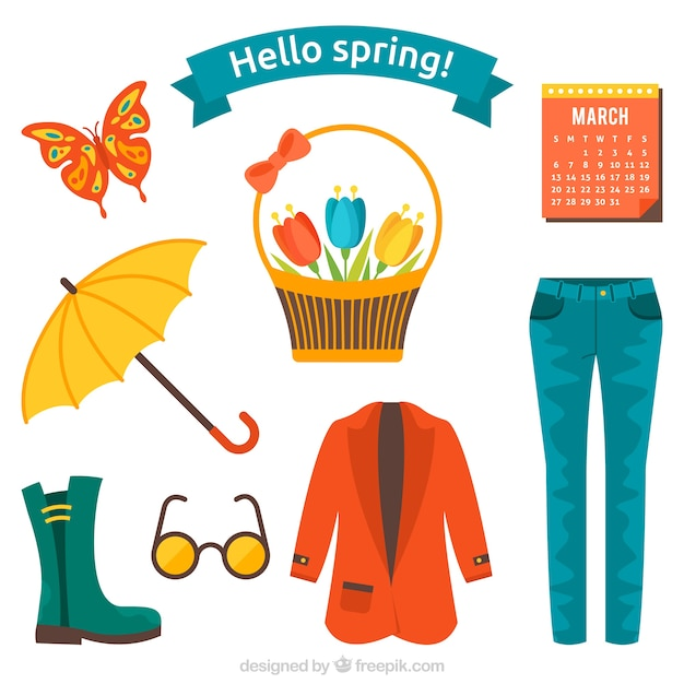 Spring Clothes And Things Set Vector Free Download