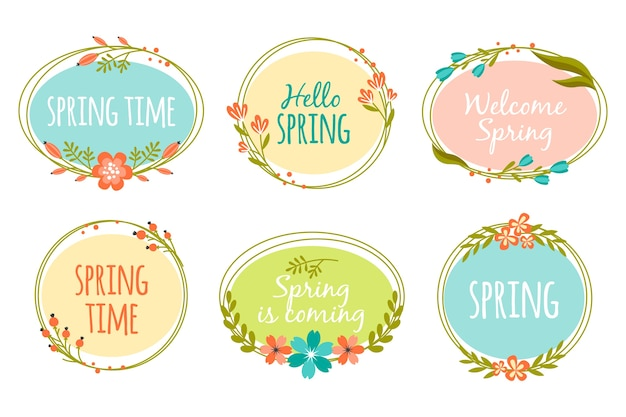 Spring concept for label collection Free Vector