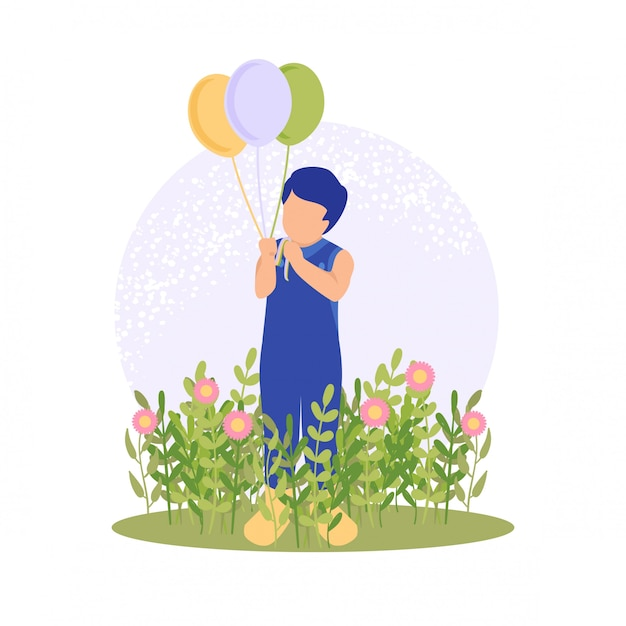 Spring cute boy playing flower and balloon Premium Vector