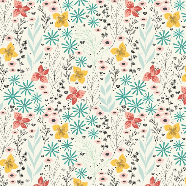 Spring daisy flowers pattern Premium Vector