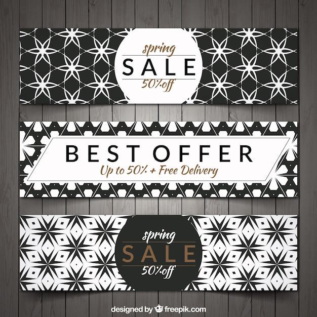 Spring discount banners with geometric\ shapes