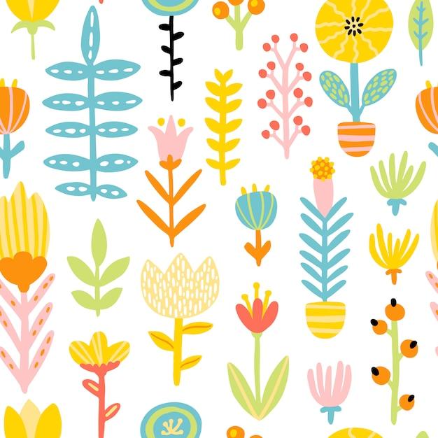 Весенний рисунок бесшовные патерн с милый мультфильм цветы в красочной палитре. детски иллюстрации в рисованной скандинавском стиле. идеально подходит для текстиля, одежды, упаковки Premium векторы