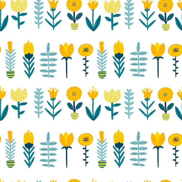 Весенний рисунок бесшовные патерн с милый мультфильм цветы в красочной палитре. детски иллюстрации в рисованной скандинавском стиле. Premium векторы