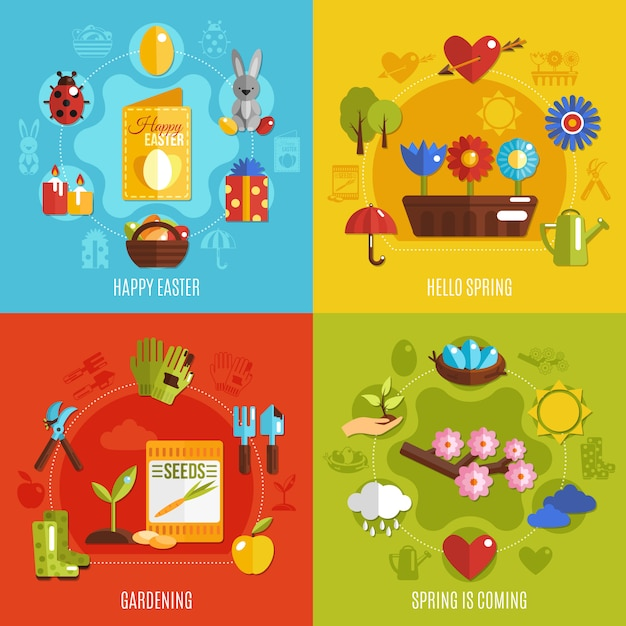 Spring easter 2x2 icons set Free Vector