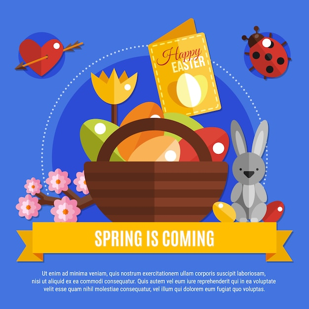 Spring easter flat banner Free Vector