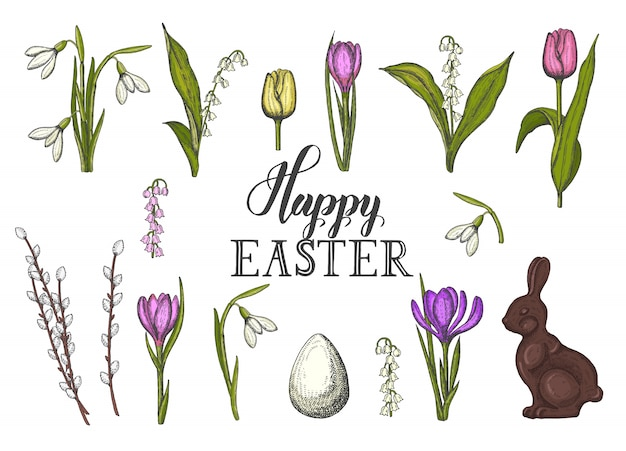 Spring easter set with hand drawn colored easter egg, chocolate bunny, lilies of the valley, tulip, snowdrop, crocus, willow. sketch. hand made lettering- happy easter Premium Vector