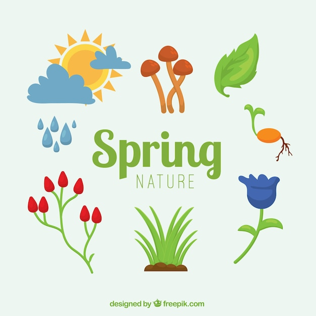 Spring element collection Free Vector