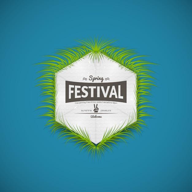 Spring festival realistic badge Premium Vector