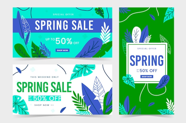 Spring flat design banners green and blue leaves Free Vector