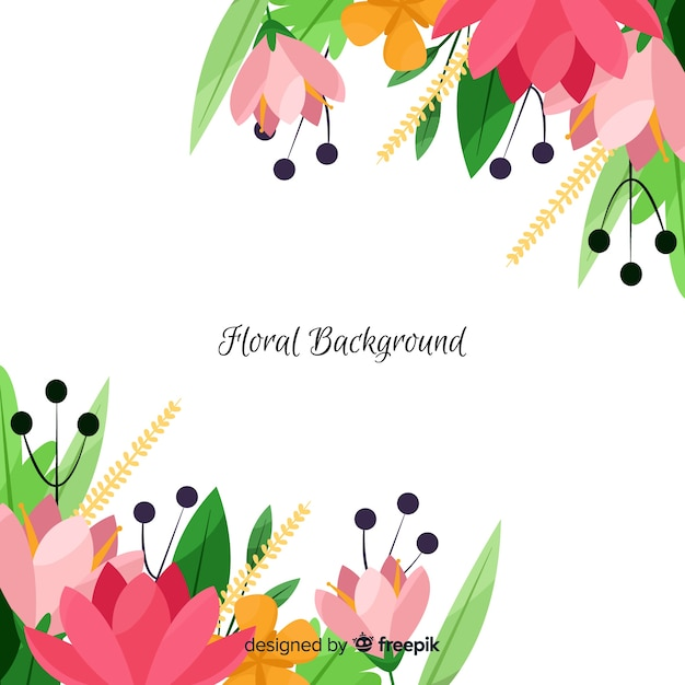 Spring floral corners background Free Vector