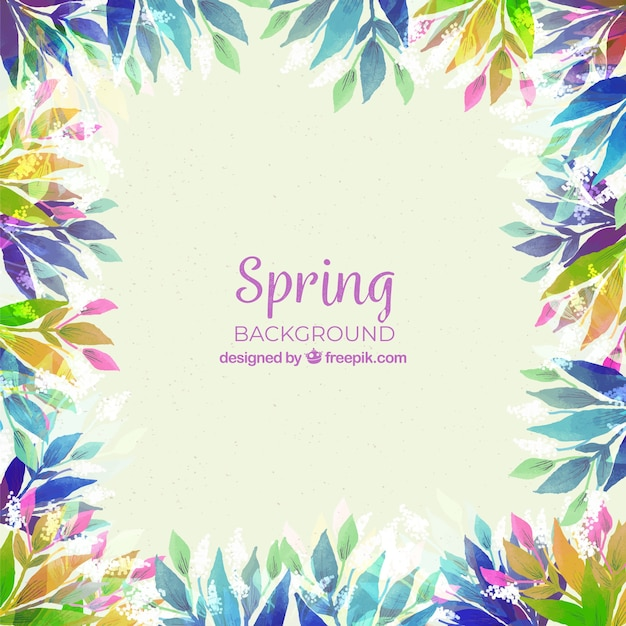 Spring floral frame background in watercolor style Free Vector