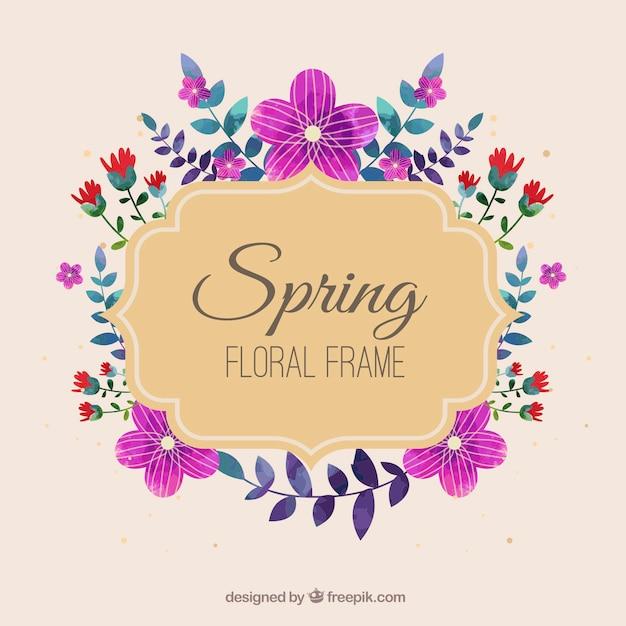 Spring floral frame in vintage style Free Vector