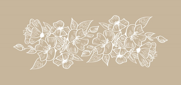Spring floral frame ornament scandinavian tropical isolated Premium Vector
