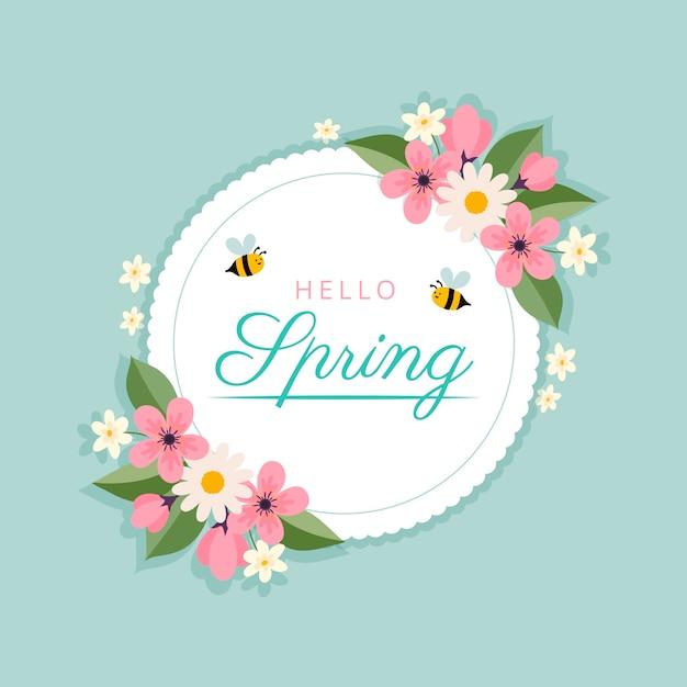 Весенняя цветочная рамка с пчелами Бесплатные векторы
