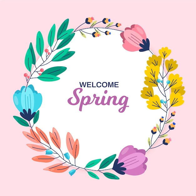 Spring floral frame with colourful flowers and leaves on pink background Free Vector