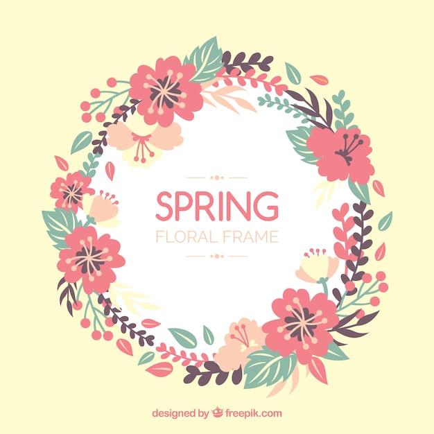 Spring floral frame Free Vector