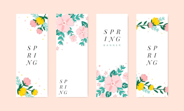 Spring floral illustration collection Free Vector