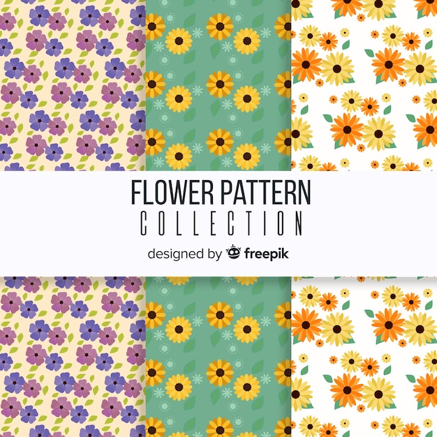 Spring floral pattern collection Premium Vector