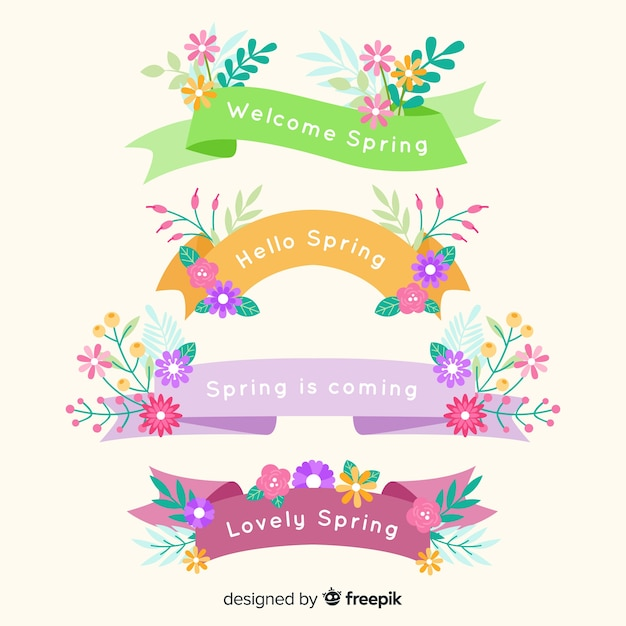 Spring floral ribbon collection Free Vector