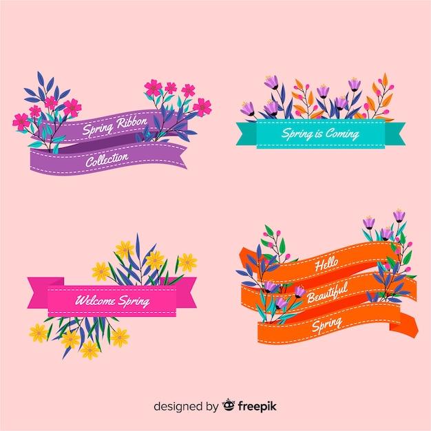 Collezione di nastri floreali primaverili Vettore gratuito