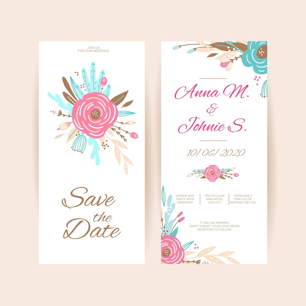 Spring floral wedding invitation template collection Free Vector