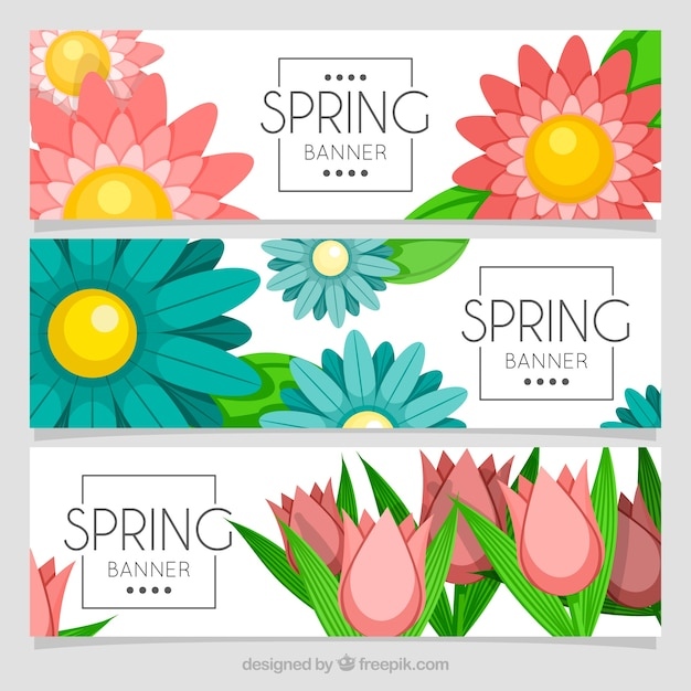 Spring Flower Banners Vector Free Download