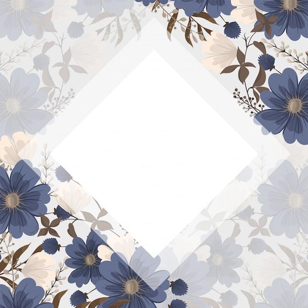Spring flower boarder - blue flower Free Vector
