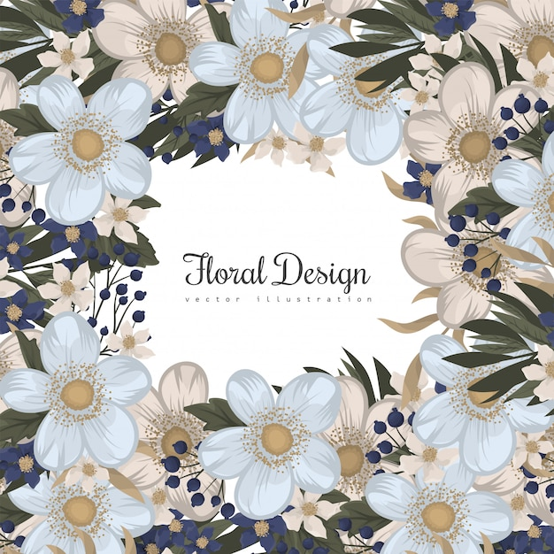 Spring flower boarder - light blue flower Free Vector
