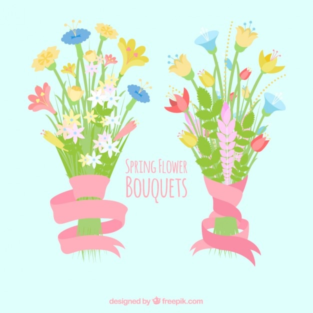 Spring flower bouquets set
