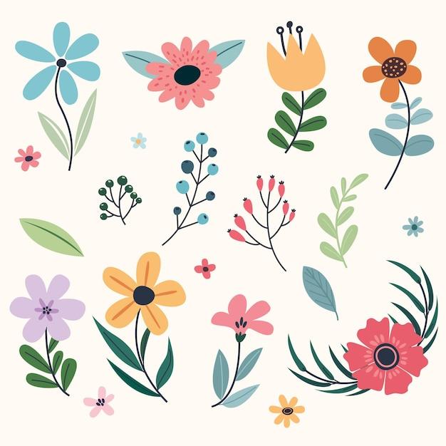 Collezione di fiori primaverili Vettore gratuito