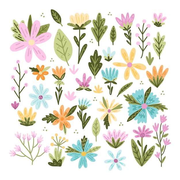 봄 꽃 모음 프리미엄 벡터