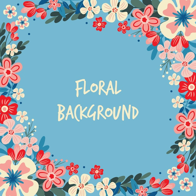 Spring flower / floral border / wreath background printed template Premium Vector