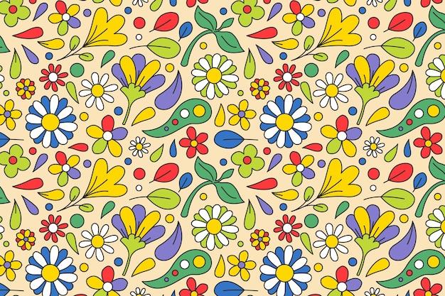 Весенние цветы и листья заводной цветочный узор Бесплатные векторы