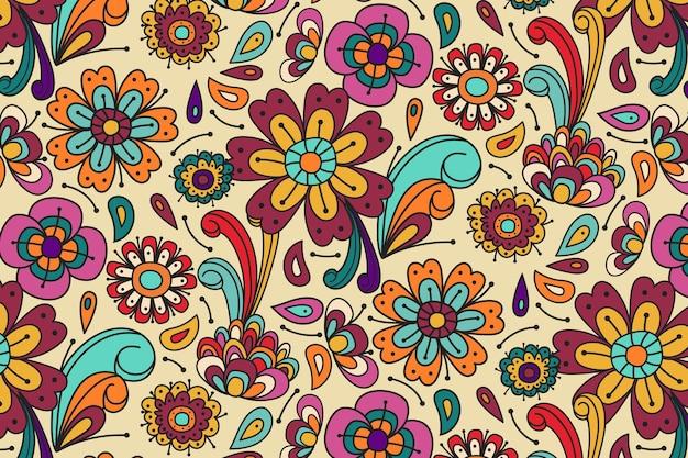 Весенние цветы и листья заводной цветочный узор Premium векторы